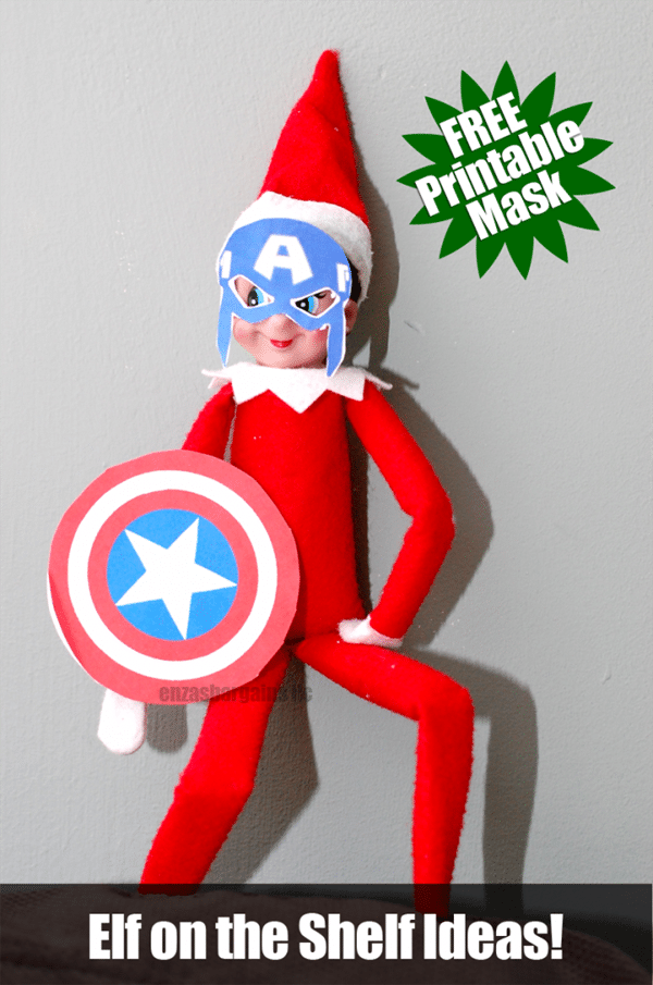Free Elf on the Shelf Captain America Mask and Shield Printables