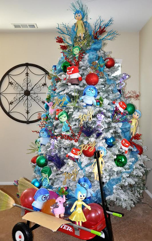 inside out disney themed christmas tree design