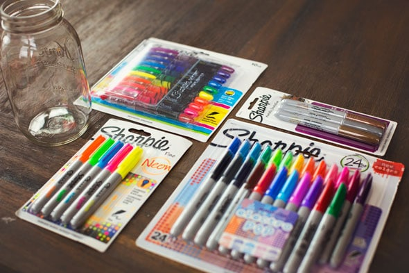 Colorful DIY Sharpie Marker Mason Jar Holder