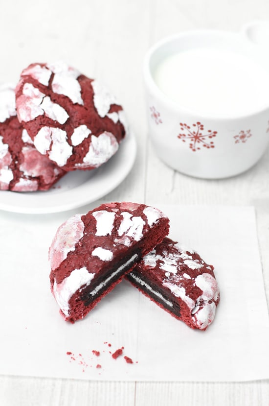 SprinkleBakes Oreo Stuffed Red Velvet Crinkles