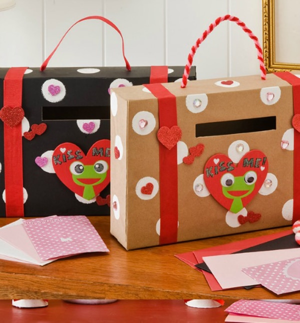 DIY Cardbox Suitcase Valentine Card Holder