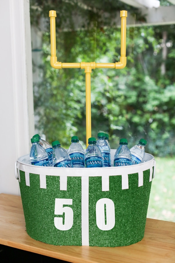 DIY Football Beverage Tub - how to throw a kid-friendly super bowl party