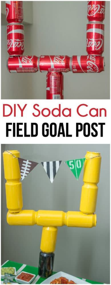 DIY Soda Can Field Goal Post - how to throw a kid-friendly super bowl party