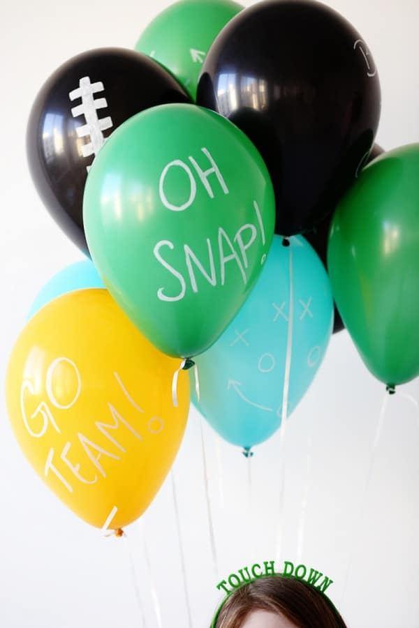Football Balloons - how to throw a kid-friendly super bowl party
