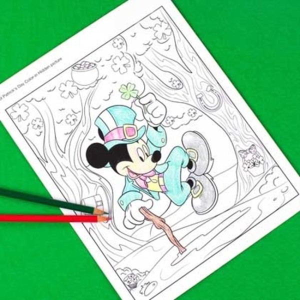 Free Mickey Mouse St. Patrick's Day Coloring Printable
