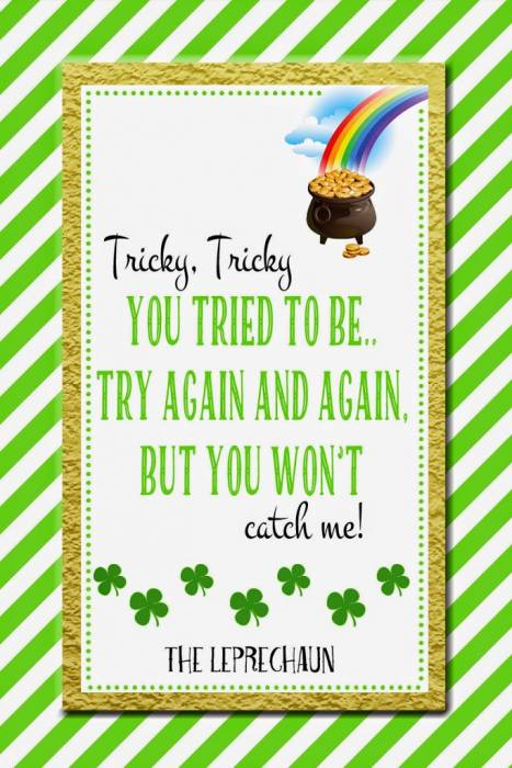 Free Printable Leprechaun Note