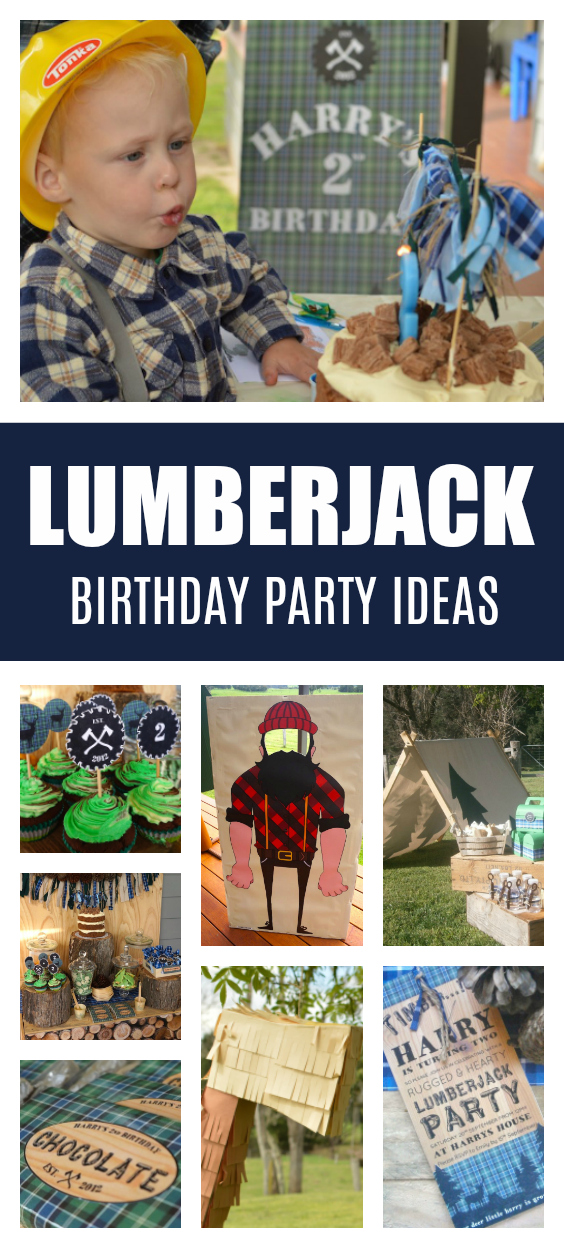 Lumberjack 2nd Birthday Party on Pretty My Party