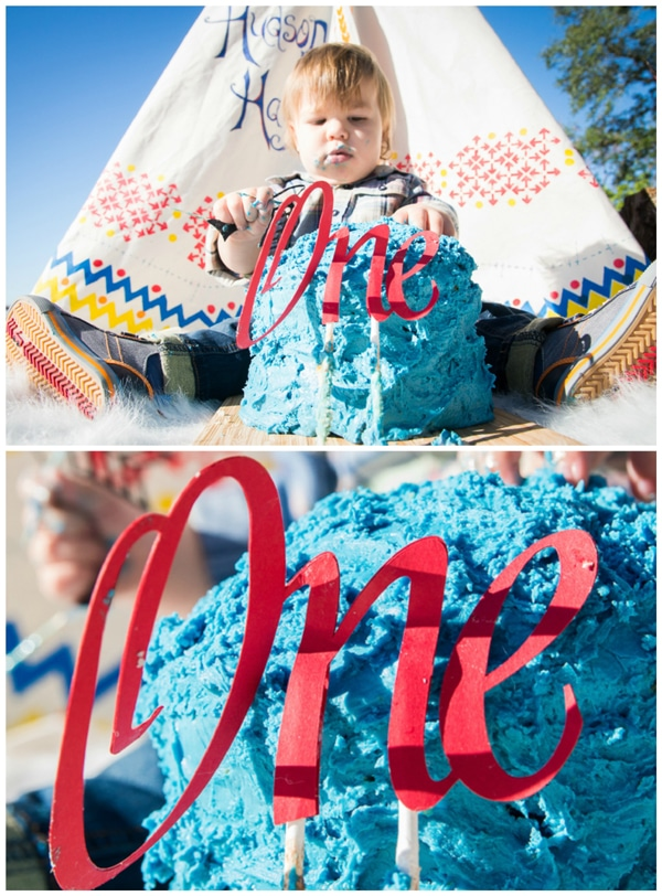tee-pee-indians-first-birthday-party-cake