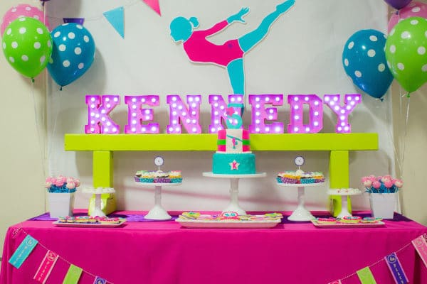 Bright and Colorful Gymnastics Birthday Party