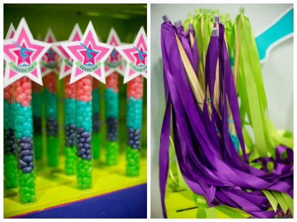 Gymnastics Birthday Party Ribbon Wands and Candy Favors via Pretty My Party