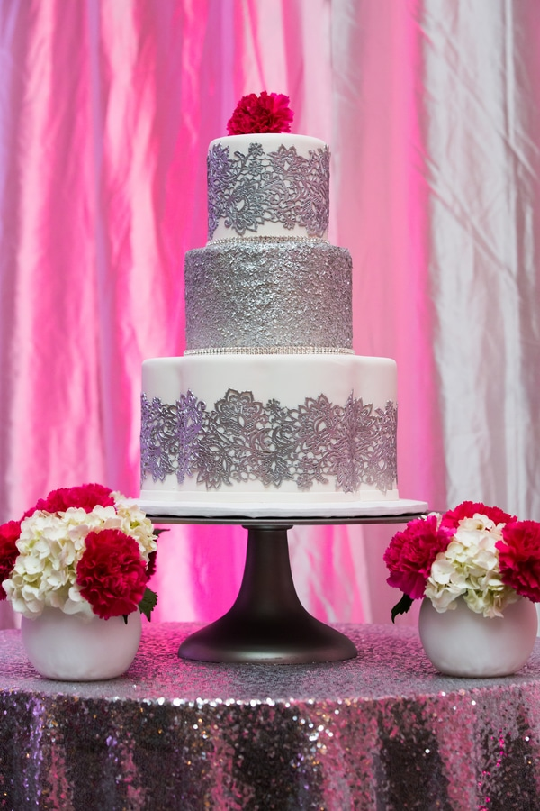 silver-white-pink-wedding-cake