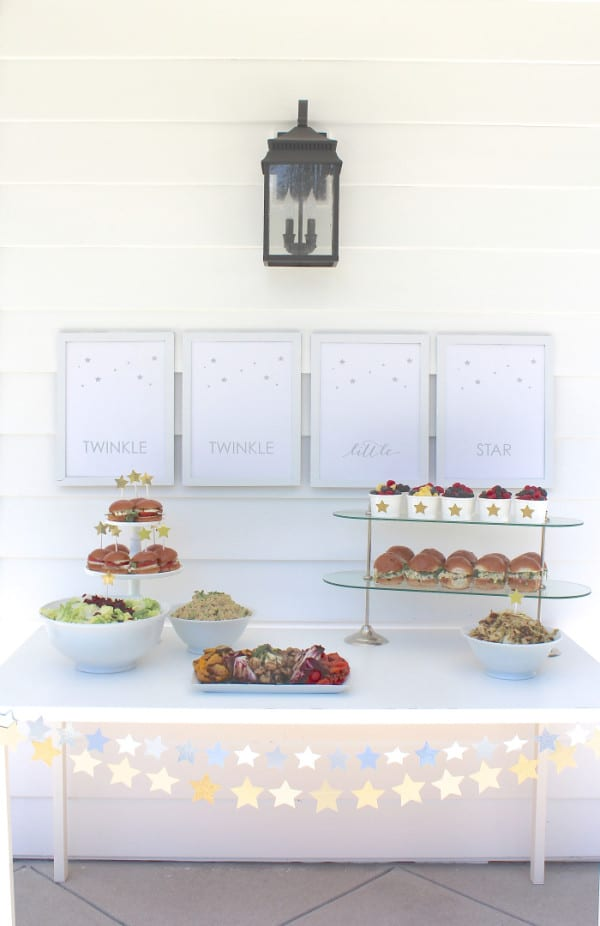 Food Table, Twinkle Sprinkle Baby Shower via Pretty My Party