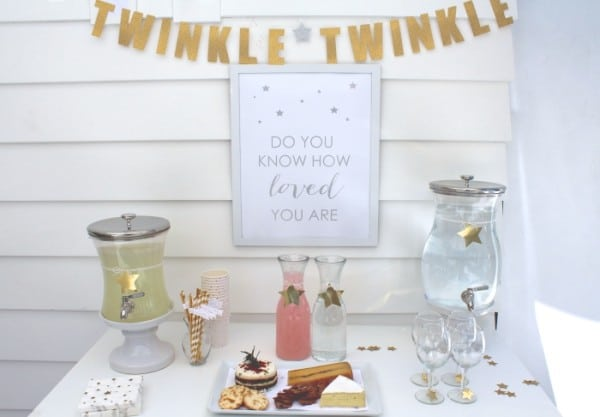 Beverage Station, Twinkle Sprinkle Baby Shower via Pretty My Party