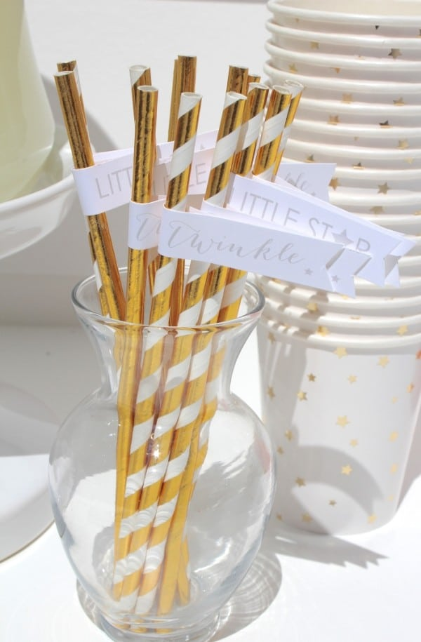 Gold Straws, Twinkle Sprinkle Baby Shower via Pretty My Party