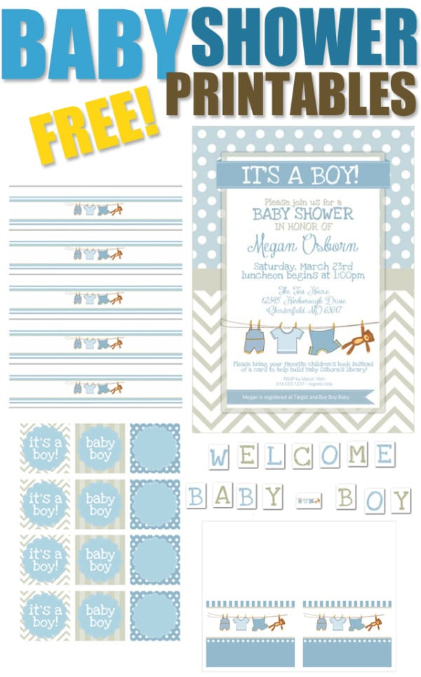 Sizzling image with free printable baby shower invitations for boys