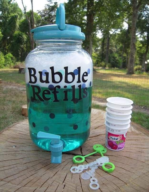 Bubble Refill Station, 10 Ways to Entertain Kids at Birthday Parties via Pretty My Party