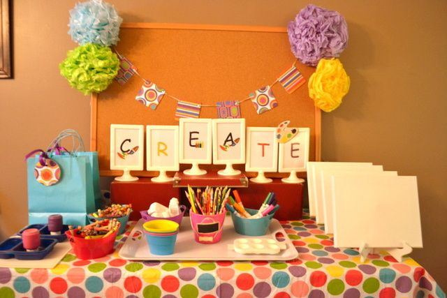 Creation Craft Station, 10 Ways to Entertain Kids at Birthday Parties via Pretty My Party