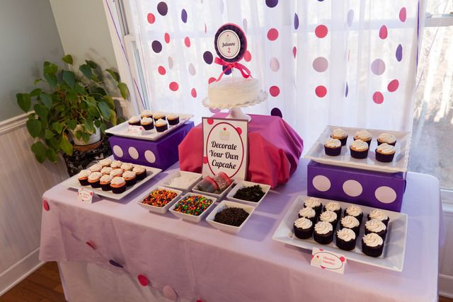Decorate your own Cupcake Station, 10 Ways to Entertain Kids at Birthday Parties via Pretty My Party