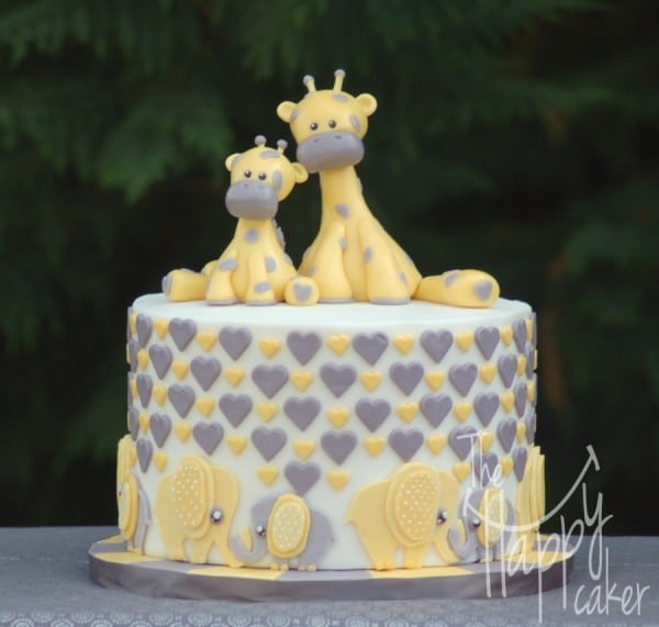 Elephants and Giraffes Baby Shower Cake, Amazing Baby Shower Cake