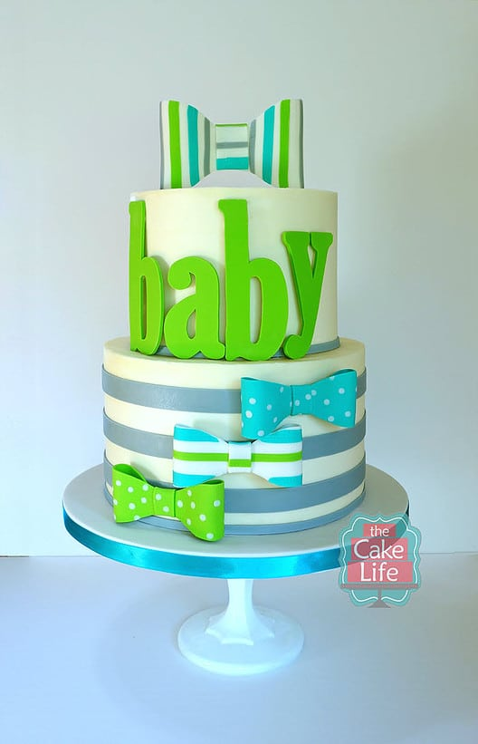 Green and Blue Bow Tie Baby Shower Cake, Baby Shower Cake For Boys