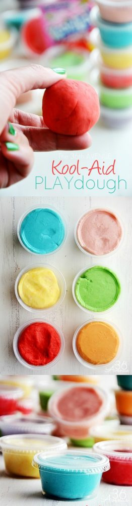 Kool-Aid-Playdough, 10 Ways to Entertain Kids at Birthday Parties via Pretty My Party