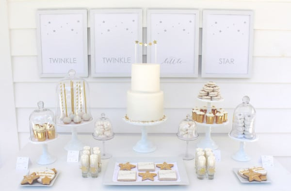Twinkle Sprinkle Baby Shower Dessert Table via Pretty My Party