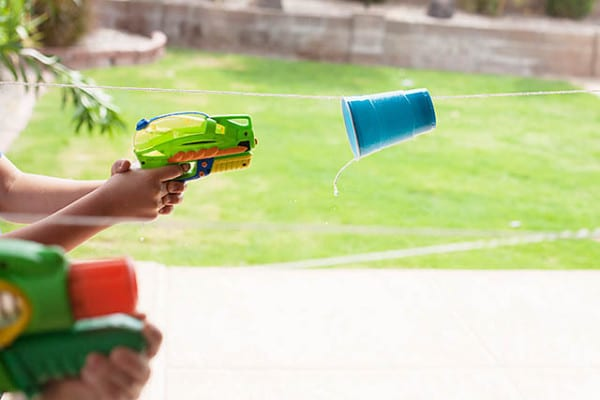Water Gun Cup Races, Fun Outdoor Games