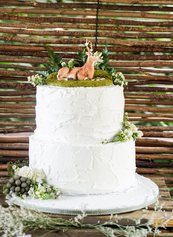 Boho Enchanted Forest Deer Cake via Pretty My Party | www.prettymyparty.com