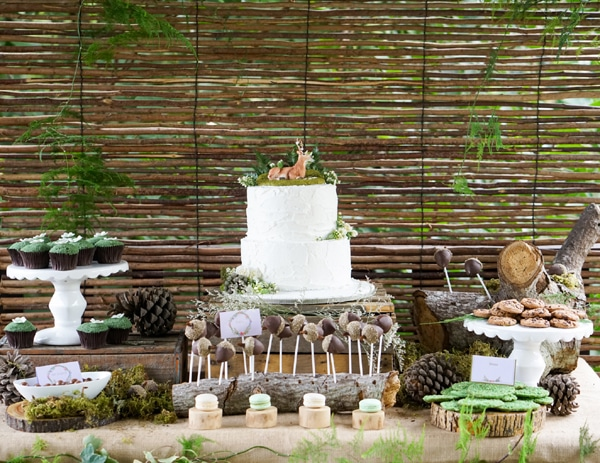Boho Enchanted Forest Dessert Table via Pretty My Party | www.prettymyparty.com