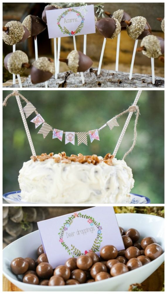 Boho Enchanted Forest Party Acorn Cake Pops via Pretty My Party | www.prettymyparty.com