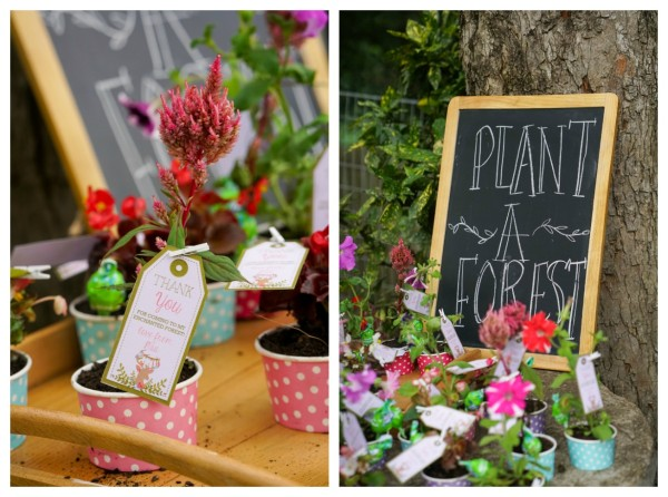 Boho Enchanted Forest Party Flower Favors via Pretty My Party | www.prettymyparty.com