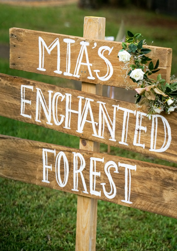 Boho Enchanted Forest Party Wood DIY Sign via Pretty My Party