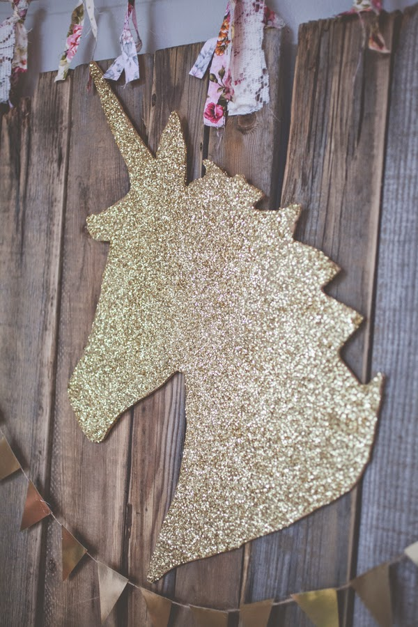 Gold Glitter Unicorn Party Decoration