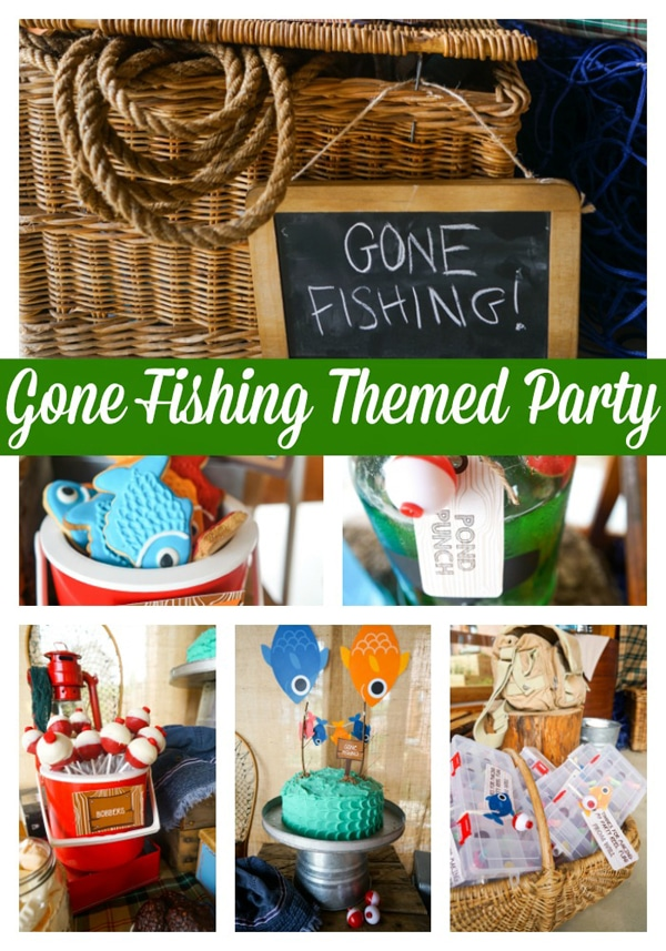 Adorable boys gone fishing party pretty my party for Fishing themed party supplies