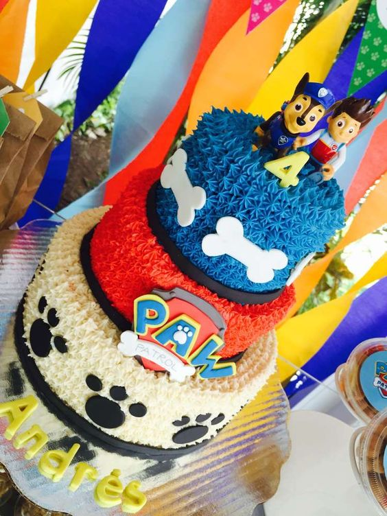 Red, Blue and White Paw Patrol Birthday Cake