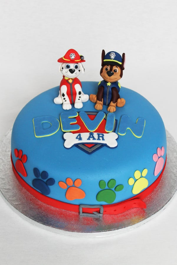 Blue Paw Patrol Cake with Paw Print and Chase and Marshall Cake Toppers