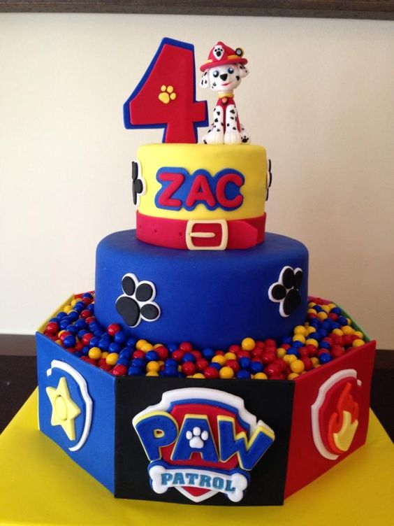 Three Tier Paw Patrol Cake with Candy