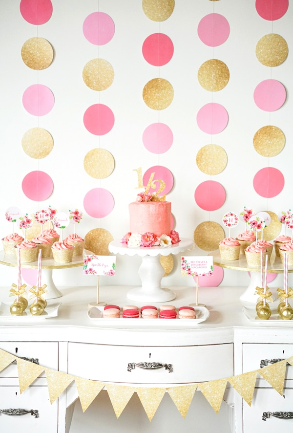 pink-gold-dessert-table