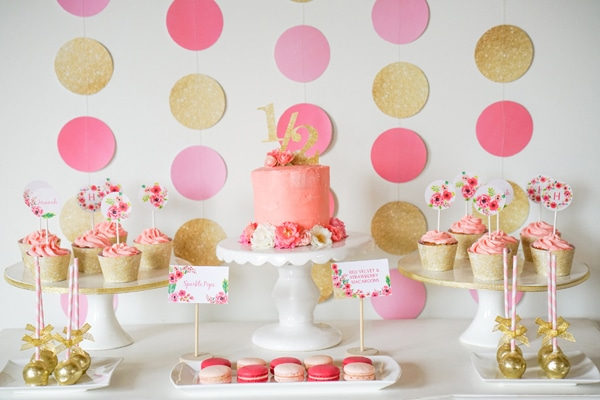 Pink Gold Half Birthday Dessert Table