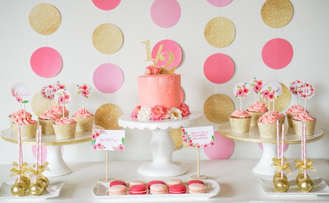 Pink And Gold Half Year Birthday Party