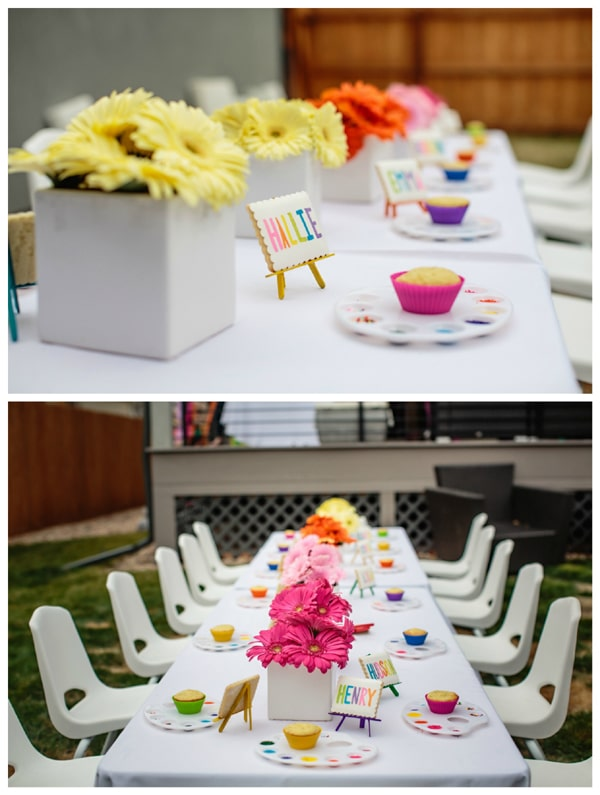 Art Birthday Party Table Place Settings