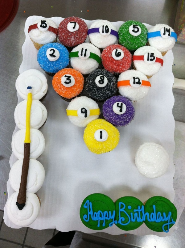 Pool Billiards Cupcake Cake