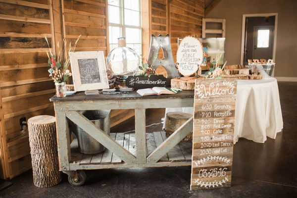 Southern Rustic Charm Wedding Theme reception decor| Pretty My Party