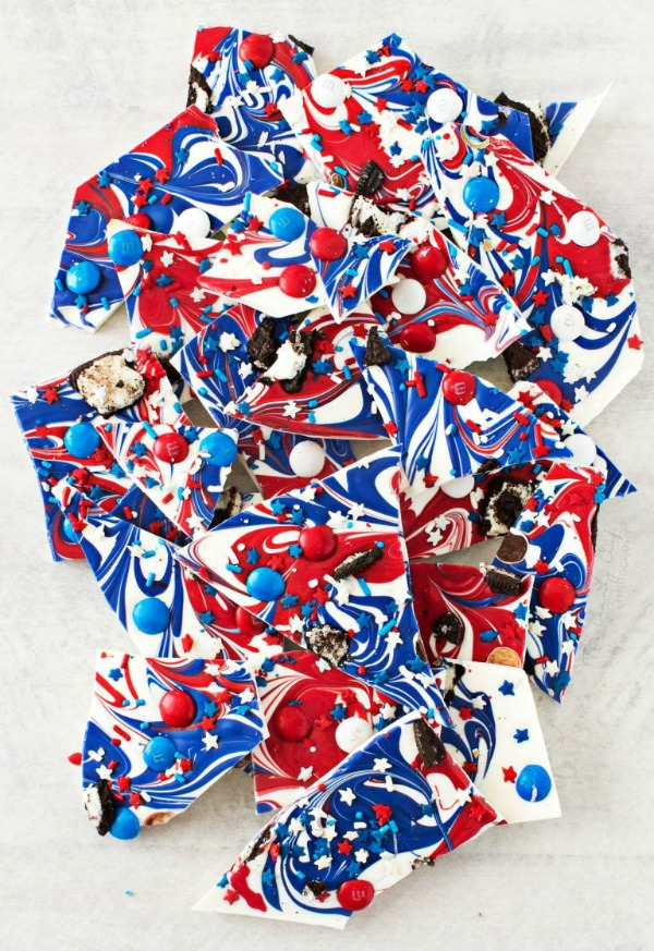 1 Red White and Blue Bark, 20 Ideas for Celebrating 4th of July via Pretty My Party