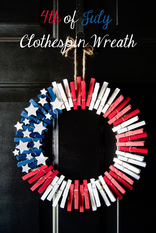 3 4th of July Clothespin Wreath, 20 Ideas for Celebrating the 4th of July via Pretty My Party