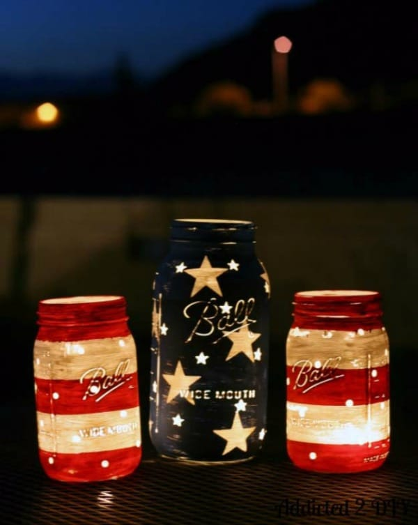 3 Patriotic DIY Mason Jar Lanterns, 20 Ideas for Celebrating the 4th of July via Pretty My Party