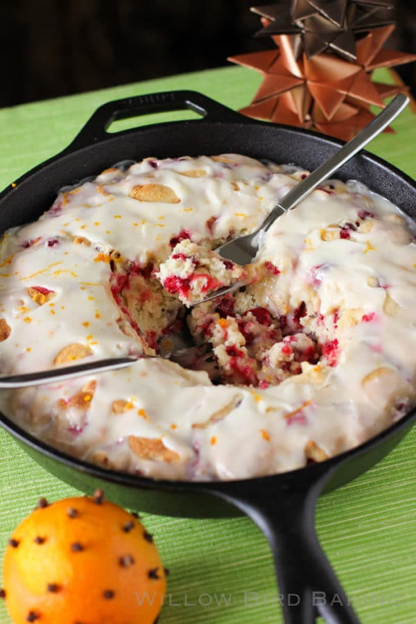 Hot Cranberry Orange Cake, Best Skillet Dessert Recipes via Pretty My Party