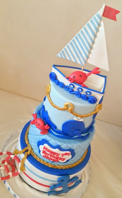 Nautical Crab Cake, 21 Sizzling Summer Birthday Cake Ideas | Pretty My Party