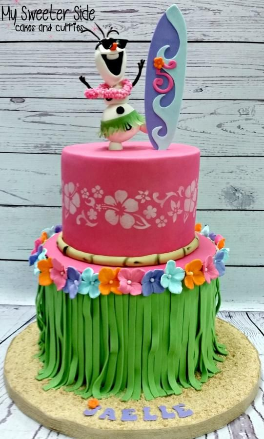 Olaf Hawaiian Cake, 21 Sizzling Summer Birthday Cake Ideas | Pretty My Party