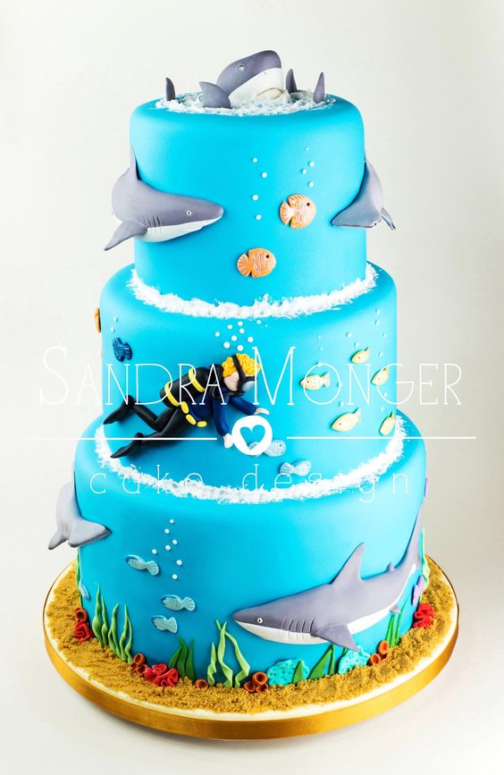 Shark Cake, 21 Sizzling Summer Birthday Cake Ideas | Pretty My Party